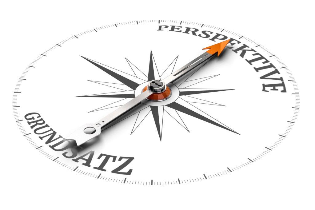 Kompass für Grundsatz und Meilensteine