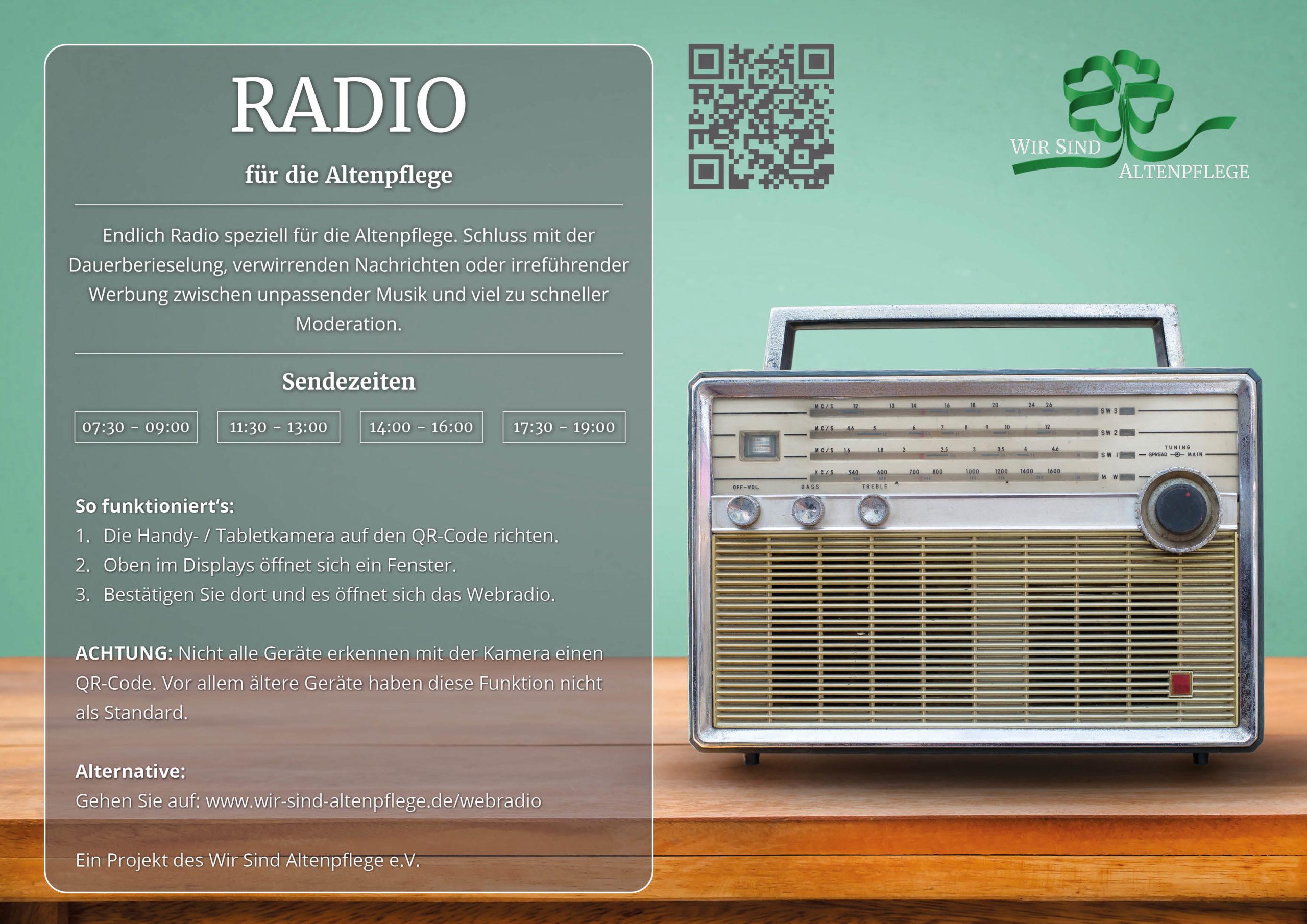 Radio für die Altenpflege Aushang Wir Sind Altenpflege